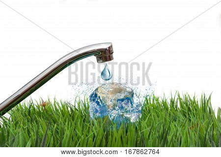 Outdoor faucet with globe concept of water conservation elements furnished by NASA isolated on white background