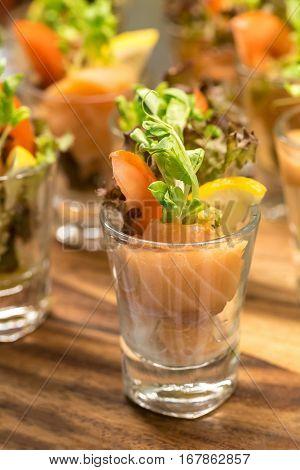 Salmon rolls as tapas cocktail