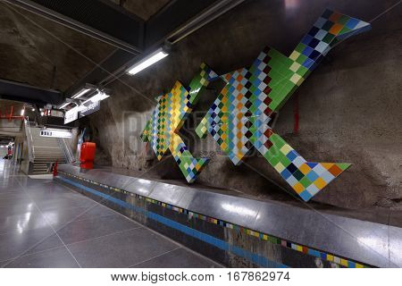 STOCKHOLM, SWEDEN - DECEMBER 26, 2016: Interior of Vastra skogen subway station. Over 90 subway stations have been decorated with sculptures, mosaics, paintings and reliefs by over 150 artists