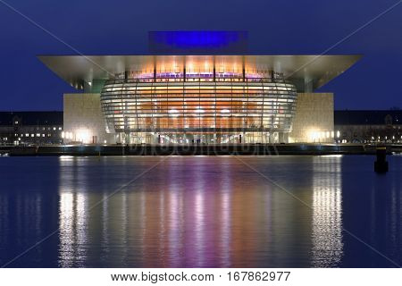 COPENHAGEN, DENMARK - DECEMBER 28, 2016: Copenhagen Opera House in evening. It's one of  the most modern and the most expensive opera houses ever built with construction costs well over US$500 million