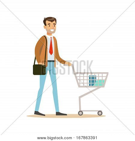 Man With Cart And Handbag In Department Store , Cartoon Character Buying Things In The Shop. Colorful Vector Illustration With Happy People In Supermarket.