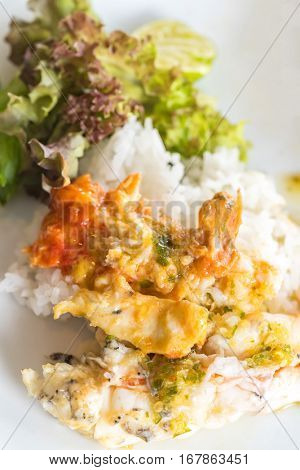Grilled mighty tiger river prawn with shrimp paste on rice and vegetable