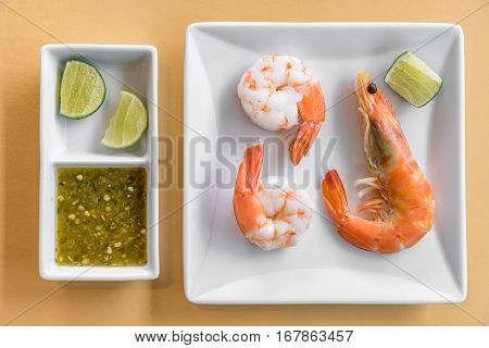 Fresh seafood prawn on ice