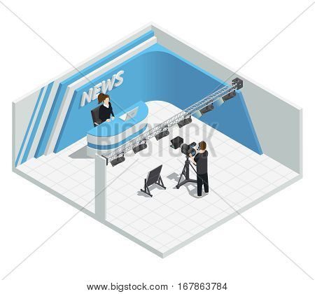 Isometric interior composition with video tv live news broadcast studio lighting kit camera host cameraman characters vector illustration