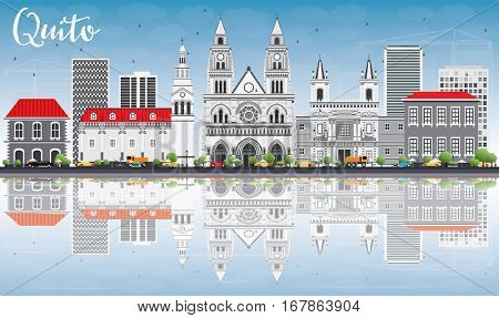Quito Skyline with Gray Buildings, Blue Sky and Reflections. Business Travel and Tourism Concept with Historic Architecture. Image for Presentation Banner Placard and Web Site.