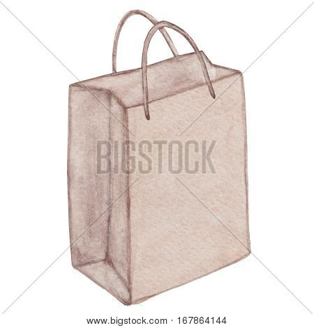 Eco bag with handle shopping bag carrier bag ecological package eco friendly reusable grocery bag handbag. Watercolor illustration.