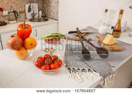 Blur image of modern Kitchen Room interior. Kitchen Room. Kitchen. Kitchen background