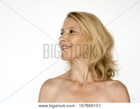 Woman Bared Chest Naked Portrait
