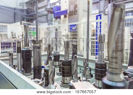 equipment for Metalworking production blurred image mill tooling