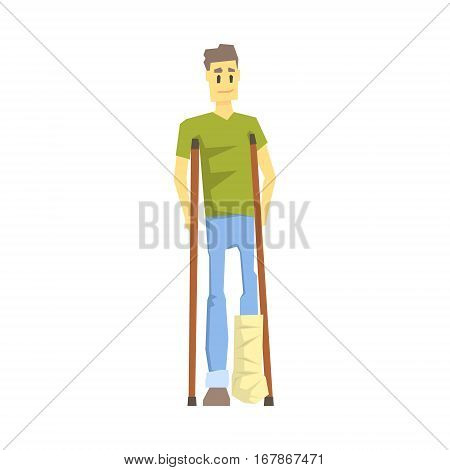 Guy With Cast On Leg With Crouches, Young Person With Disability Overcoming The Injury Living Full Live Vector Illustration. Handicapped Person Happy Cartoon Character.