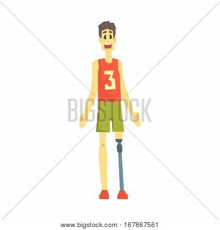 Guy In Sportive Outfit With Artificial Leg, Young Person With Disability Overcoming The Injury Living Full Live Vector Illustration. Handicapped Person Happy Cartoon Character.