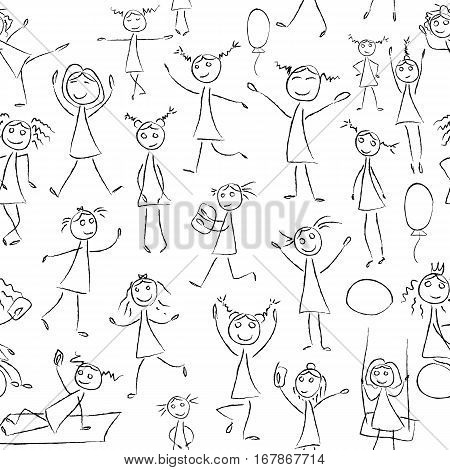 Sketch drawing little girls in different poses seamless pattern. Vector set in black and white color. Dance, jump, fun background. Girls silhouette, monochrome, simple kids, drawing little children
