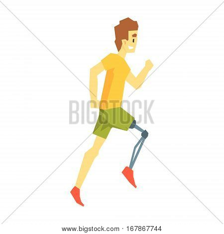 Guy Running With Artificial Leg, Young Person With Disability Overcoming The Injury Living Full Live Vector Illustration. Handicapped Person Happy Cartoon Character.