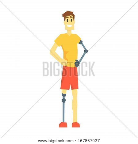 Guy WithProsthetic Leg And Arm, Young Person With Disability Overcoming The Injury Living Full Live Vector Illustration. Handicapped Person Happy Cartoon Character.