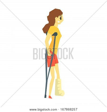 Girl With Cast On Leg Walking With Croushes, Young Person With Disability Overcoming The Injury Living Full Live Vector Illustration. Handicapped Person Happy Cartoon Character.