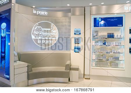 DUBAI, UAE - CIRCA NOVEMBER, 2016:  la prairie in Dubai International Airport. It is the primary airport serving Dubai and is the world's busiest airport by international passenger traffic.