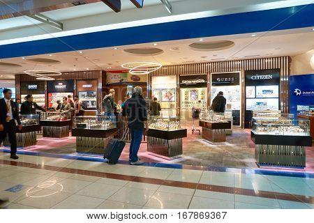 DUBAI, UAE - CIRCA NOVEMBER, 2016: inside Dubai International Airport. It is the primary airport serving Dubai and is the world's busiest airport by international passenger traffic.