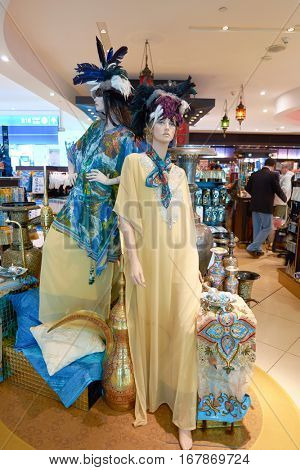 DUBAI, UAE - CIRCA NOVEMBER, 2016: mannequins in a store at Dubai International Airport. It is the primary airport serving Dubai and is the world's busiest airport by international passenger traffic.