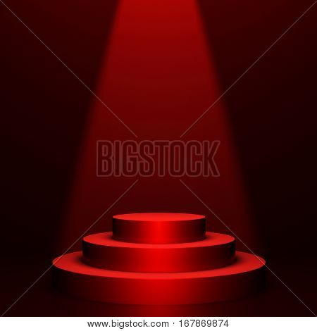 Round podium on red background with volumetric light. 3D rendering