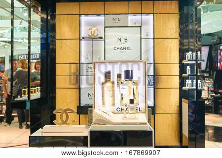 DUBAI, UAE - CIRCA NOVEMBER, 2016: Chanel No5 at Dubai International Airport. It is the primary airport serving Dubai and is the world's busiest airport by international passenger traffic.