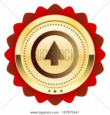 Upload seal or icon with arrow symbol. Glossy golden seal or button.