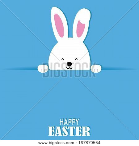 Happy easter card. Rabbit with poster with space for text