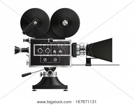 Very realistic high detailed vintage film projector cinema icon. EPS 10 contains transparency