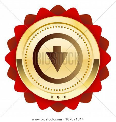 Download seal or icon with arrow symbol. Glossy golden seal or button.