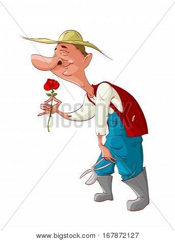 Colorful vector illustration of a happy gardner smelling a rose.
