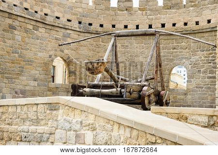 Ancient Medieval Catapult At Tower Of Fortress In Old City, Baku