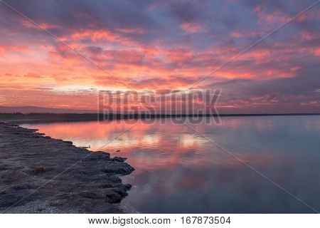 San Francisco Bay Sunset. Alviso Marina County Park, Santa Clara County, California, USA