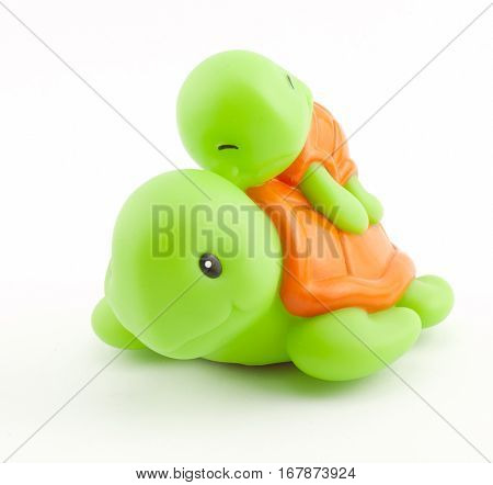 rubber bath toys. turtle on a white background