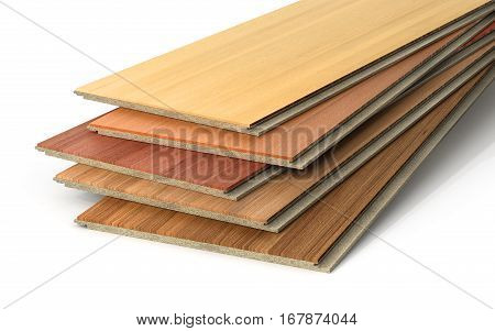 Stack of wooden laminate parquet on a white background 3d illustration