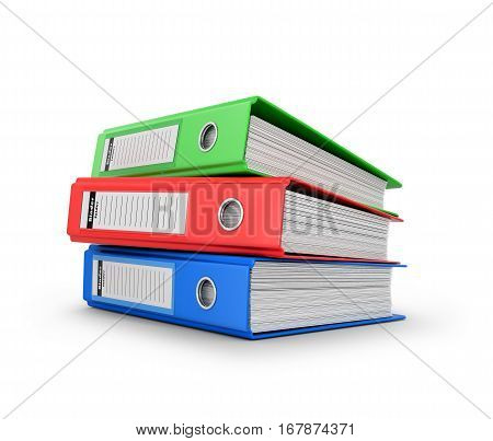 Colored ring binders on a white background. 3D illustration.