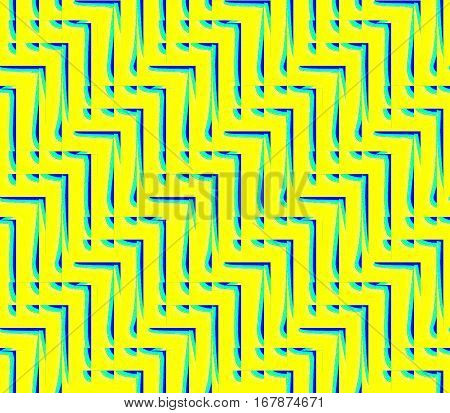 Abstract seamless strips and corners yellow  and blue lined in rows to form a continuous pattern
