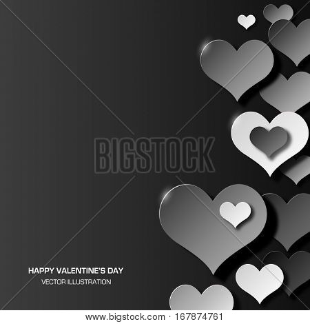 Abstract love Valentine background three dimensional black and white hearts shapes