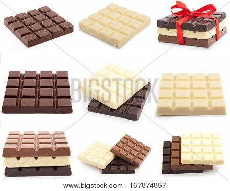 many chocolate bars, isolated on white background