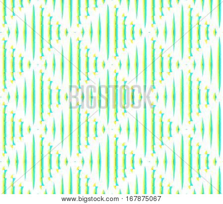 Abstract seamless white background strips and small squares of yellow and green laid out in rows and form a continuous pattern