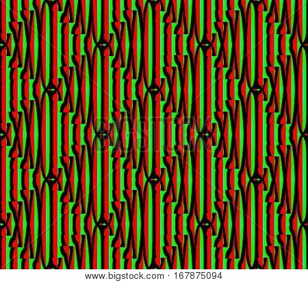 Abstract seamless strips and small squares of red and black and green lined in rows to form a continuous pattern
