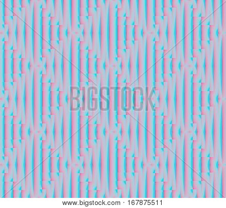 Abstract seamless strips and small squares of blue and pink lined in rows to form a continuous pattern