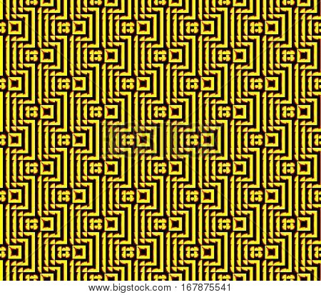 Abstract seamless strips and small squares of yellow and black lined in rows to form a continuous pattern