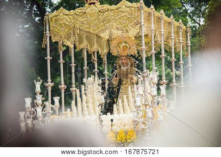 Holy Week In Malaga, Spain. Virgin Mary Of Pollinica Procession.