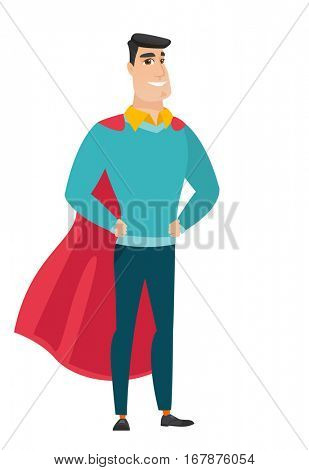 Businesman wearing a red superhero cloak. Full length of young smiling business man dressed as a superhero. Successful businessman superhero in red cloak. Vector flat design illustration isolated on