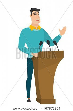 Politician speaking to audience from tribune. Politician giving speech from tribune. Politician standings behind tribune with microphones. Vector flat design illustration isolated on white background.