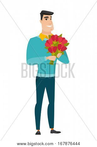 Caucasian business man holding a bouquet of flowers. Full length of business man with bouquet of flowers. Happy business man with flowers. Vector flat design illustration isolated on white background