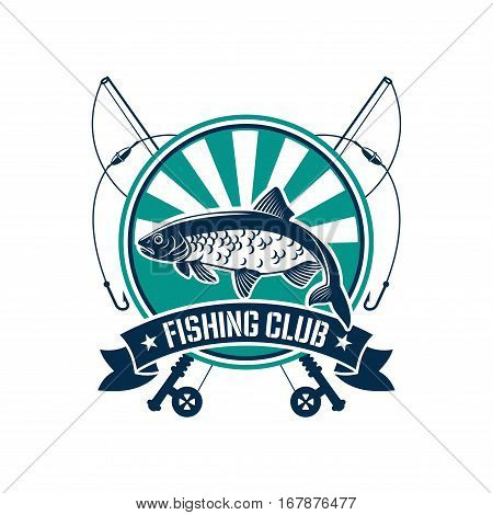 Fishing club icon or emblem. Fisherman sport adventure round badge with vector symbols of fishing rod with float and hook, river perch, crucian or trout fish with blue ribbon design