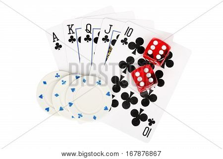 playing cards with dice and poker chips isolated on white