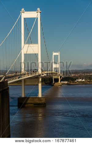 The Older Severn Crossing, Suspension Bridge Connecting Wales With England.