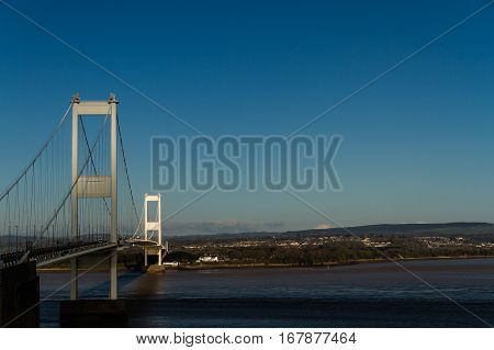 The Older Severn Crossing, Suspension Bridge Connecting Wales With England. Copyspace.