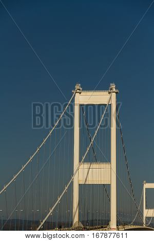 Towers Of The Older Severn Crossing, Suspension Bridge Connecting Wales With England.